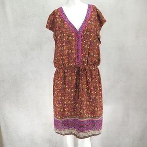 DR2 L Boho Sheath Dress V-neck Floral Hippie Gypsy